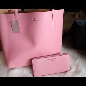 Kate Spade Reversible Pink Tote and Wallet